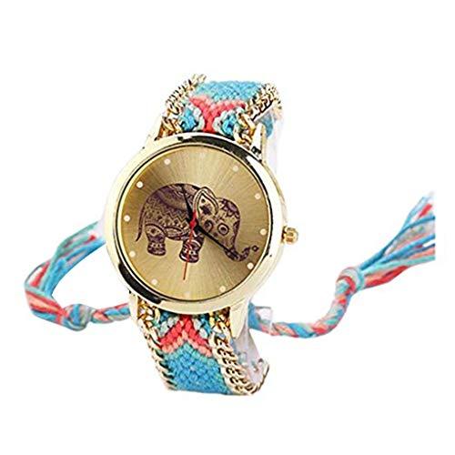 Kongnijiwa Chica Ajustables Tejidas Hechas a Mano Pulsera de Colores Mujeres Reloj, Reloj de Las Mujeres Chica Modelo de Elefante Reloj de Pulsera de Cuarzo Reloj de Pulsera