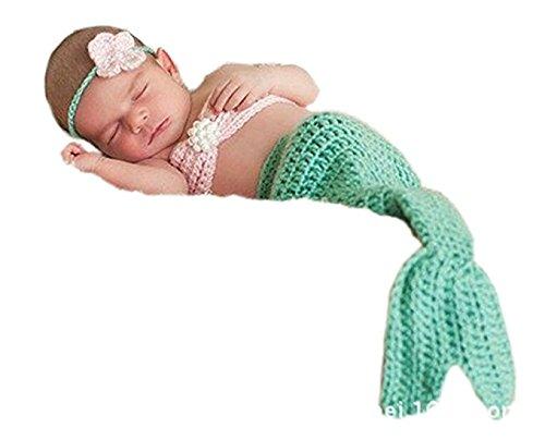 ASBYFR Neugeborenes Baby Mädchen Kostüm Fotografie Foto Props Häkelarbeitknit Meerjungfra Baby-Outfits Set
