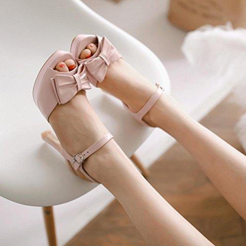 Heart&M Été style décontracté des femmes PU bowknot Peep Sole Peep-toe 10CM Escarpin Sandales Pink