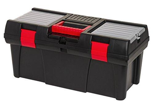 """Robuster Werkzeugkoffer mit Organizer im Deckel und herausnehmbaren Werkzeugträger. 20"""" Box in Schwarz, Rot. Maße ca. 52 x 26 x 25 cm"""