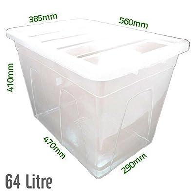 64 l, Kunststoff transparent, robust, Aufbewahrungsboxen/Dosen mit Deckel, hergestellt im UK von Elixir auf Du und dein Garten