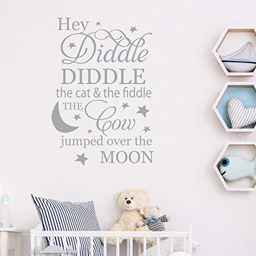 Diddle mit Mond und Sternen Kinderlied Kinderzimmer Wanddekoration 40 * 58cm ()
