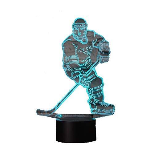 3D Lampe USB Power 7 Farben Erstaunliche Optische Täuschung 3D Wachsen LED Lampe Hockey Form Kinder Schlafzimmer Nachtlicht
