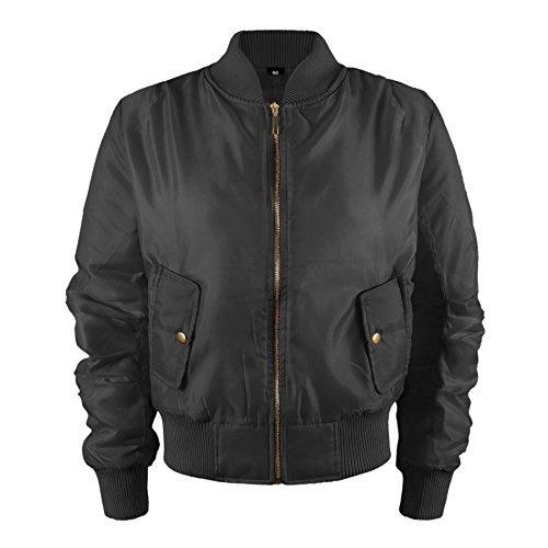 Kinder Mädchen Jungen Kinder Bomber MA1 Stil Jacke Piloten Biker Taschen Mantel Jahre - Schwarz, 92-98