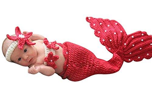 Happy Cherry Neugeborenes Baby Meerjungfrau Figur Kostüm Fotografie Prop Handarbeit Bekleidungsset Fotoshooting Stricken Tiere Kostüm Baby Trikot Foto Outfits Requisiten Für 3-4 (Kleinkinder Für Kleine Outfits Meerjungfrau)