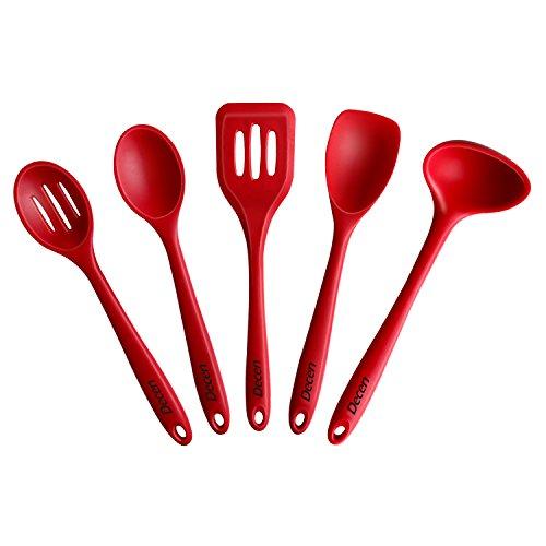Decen Silicone utensili da cucina 5 Pezzi con Spatola, cucchiao solido, scanalato Turner, Cucchiaio scanalato and Mestolo per Cottura, Rosso