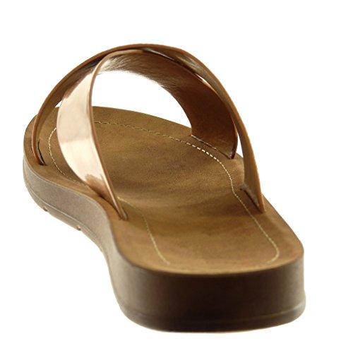 Angkorly Chaussures Mode Mules Sandales Slip-on Tongs Femme Cross Straps Cuir Verni Brillant Talon Plat 2 Cm Champagne