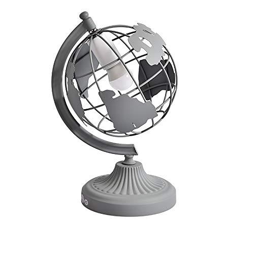 HHCC Globe Schreibtischlampe Geographic Swivel Round Globe Käfiglampe Durchmesser 28 cm Moderne Desktop Dekoration E27 Basis,Gray Magnetic Swivel