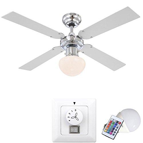 Leiser Decken Ventilator Raum Lüfter Lampe Leuchte im Set inkl. Wandschalter und RGB LED Leuchtmittel (Bad-leuchte Mit Ventilator)