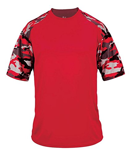 4141 Badger Adult Camo Sport Tee - Red/ Red Camouflage