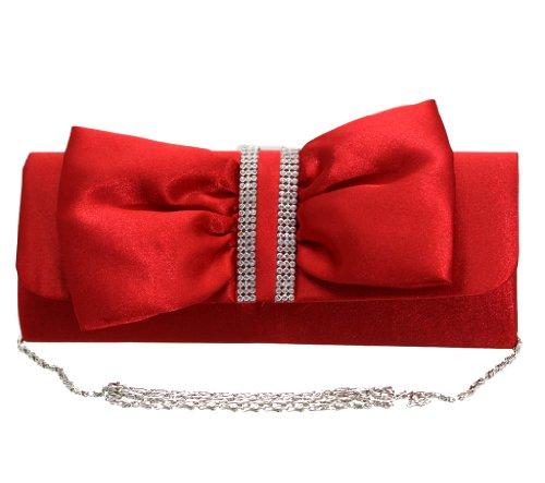 Monte Lovis - Glamouröse Damen-Handtasche CLUTCH im kräftigen Rot - Elegantes Accessoire mit dezenter Strass-Verzierung und Schlaufe (1920er Jahre Frauen Schuhe)