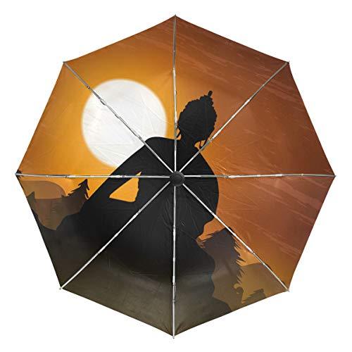 FAJRO Paraguas de Viaje de Buda tailandés, Resistente al Viento, automático, para la Lluvia al Aire Libre/Mujeres/Hombres