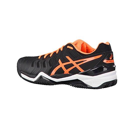 Asics Gel-Resolution 7 Clay, Chaussures de Tennis Homme Noir (Black/shocking Orange/white)