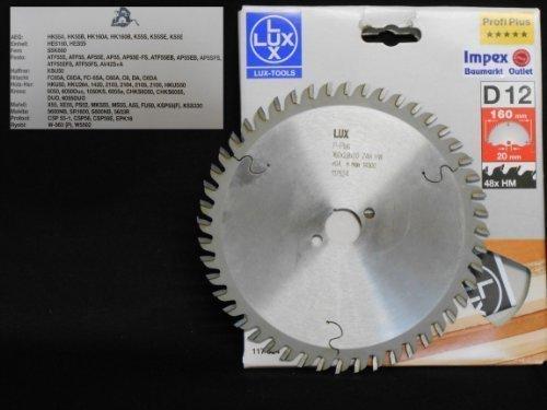 OBI LUX 117524 D12 Profi Plus HM-Kreissägeblatt 160 x 20 mm, 48 Z