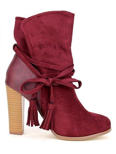 Cendriyon, Bottine bordeaux simili peau COLLS MODE Chaussures Femme Bordeaux