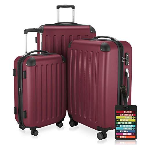 Hauptstadtkoffer Set di valigie 49+82+128 litri con un lucchetto TSA Seria SPREE (Colore Borgogna con 1 ciondolo per la valigia)