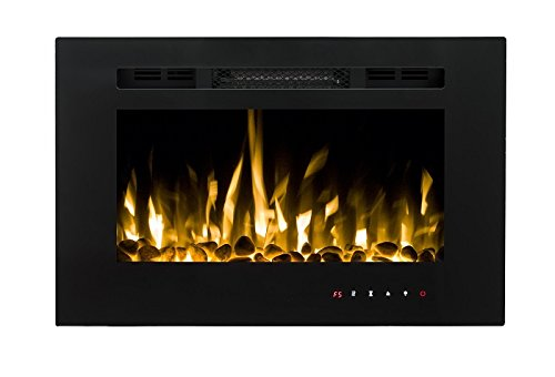 41%2B0hrcGDDL - 2021 New Premium Product 26inch Black Wall Mounted Electric Fire with 3 Colour Flames and can be Inserted (Pebbles, Logs…