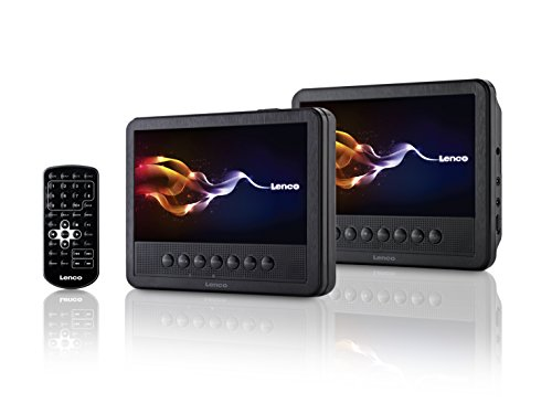 Lenco MES-212 Tragbarer DVD-Player mit 2x 18 cm (7 Zoll) Monitor, USB, Fernbedienung schwarz