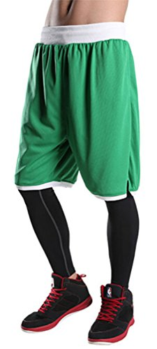 Brinny Herren Shorts Basketball Basketballhose Freizeit Sporthose Training Bermuda Fitness Strand Grün