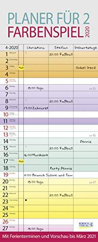 Farbenspiel - Planer für 2 2020: Familienplaner mit 3 breiten Spalten. Familienkalender mit farbigen Wochen, Ferienterminen, Vorschau bis März 2021.