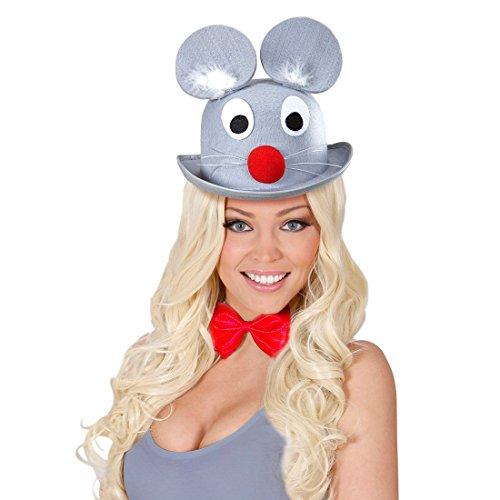 Lustiger Hut Maus Mütze Maushut Filzhut Melone mit Ohren Mäuse Kopfbedeckung Tierhut Karnevalshut