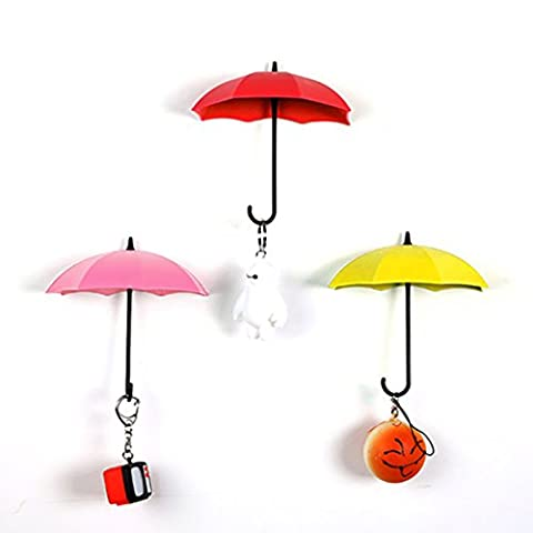 Dreammy 3PCS Lovely Umbrella Shape Wall Mounted Door Hook Hanger Organizer Vintage Key Holder New (1#)