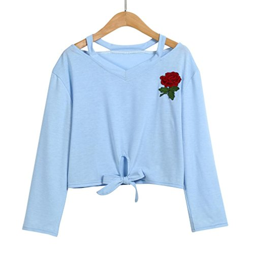 Camicetta Donna Tumblr, DoraMe Moda Donna Camicetta Manica Lunga Stampa Rosa Causale Felpa Blu