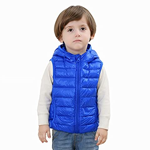 2-FITNESS Unisex Kids Packable Down Vest With Hoodie Jacket Lightweight Waistcoat Children Outerwear Blue