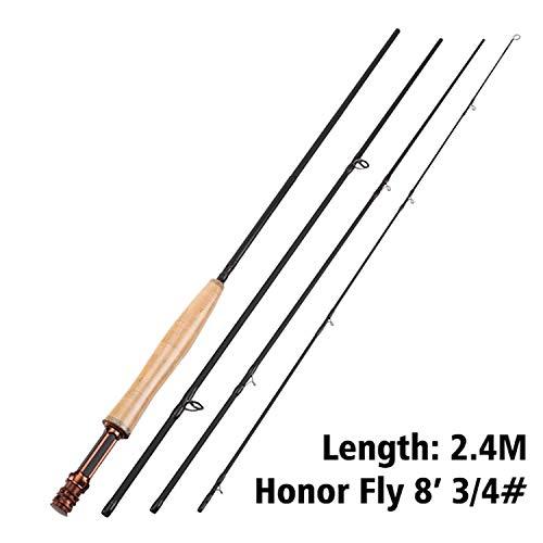 Never Ever MAXWAY Fliegenrute Honor 07.06/9 / 10FT 4 Abschnitte Fliegenfischen Rod Fuji Ring Carbon Fiber Rod Medium Fast Action River Fishing Orange (River Fishing Rod Und Reel)