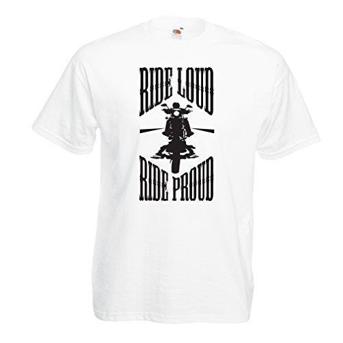 N4695 Männer T-Shirt Ride Loud! (Large Weiß Mehrfarben)