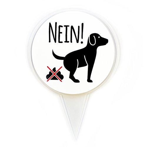 Steckschild NEIN! I hin_280 I Größe 16 x 24 cm I Hunde koten verboten, keine Hundetoilette I zum Stecken für Rasen Wiese Erde I wetterfest