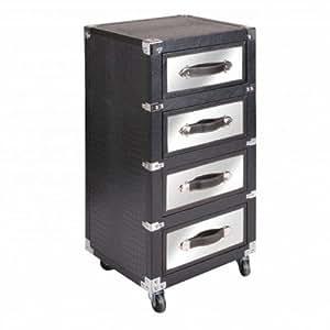 Casaprice - Bloc de rangement 4 tiroirs aluminium + polyurethane ( apparence cuir ) sur roulettes - meuble sur roulettes aluminium + polyurethane ( apparence cuir ) - malle de rangement multi-rangement - 40 x 35 x 81 cm
