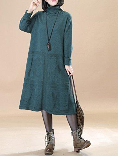 Vogstyle Damen Frühling/Herbst Neuer Kleid Pullover Art 2 Dunkelgrün