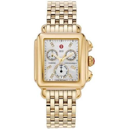 Michele Women's Deco Diamond Gold Plated Bracelet & Case Swiss Quartz White Dial Analog Watch MWW06P000016