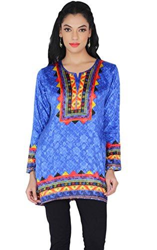 MapleClothing Kurti Top Tunika Damen Bedruckte Bluse Indien Kleidung (Blau, XXL)