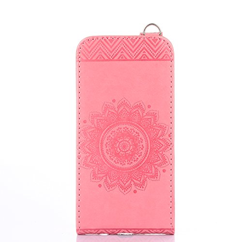 Samsung Galaxy A3 2016 Hülle Leder Tasche Flip Cover Galaxy A3 2016 Wallet Case Alfort Stilvoll Handycover Braun Mandala Blumen Muster PU Ledercase Brieftasche Handyhülle für Samsung Galaxy A3 ( 2016  Rosa