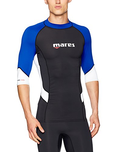 Mares Herren Trilastic Shortsleeve, Black/Blue/White, XL (Rash Sleeve Shirt)