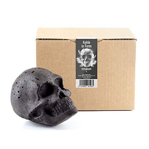 Formkohlen XL Totenkopf | Perfektes Grill Geschenk für Männer, Topping für den Grill, Mitbringsel zum Grillen, Gothic Deko, Halloween Deko, Totenkopf Deko