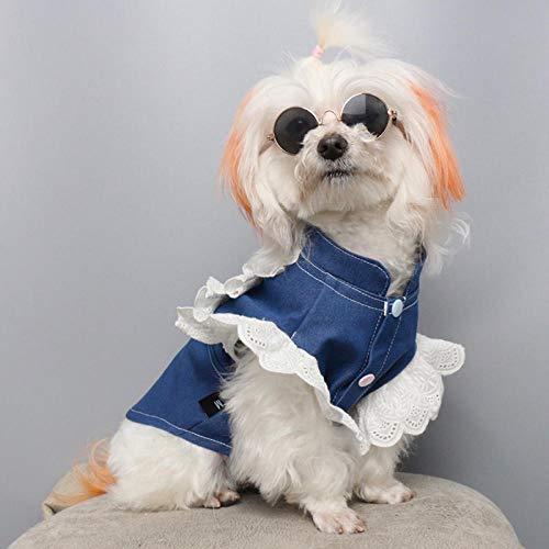 Katze Hund Kleidung Jeanshemd Frühling und Sommer dünne Bomei als Bär Welpe Prinzessin Kostüm Anti-Haar-Haar-Haustierhemd @ Pet Spitze Engel Shirt_M