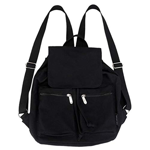 VECOLE Rucksäcke Damen 2019 Neue Einfarbiger Rucksack mit Reißverschluss Campus Student Bag Reiserucksack mit großer Kapazität(Schwarz)
