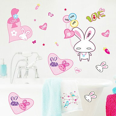 piteng- Stickers muraux Stickers muraux, Style lapin rose en PVC Stickers muraux
