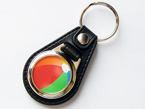 Beach Ball Sport Qualität Leder und Chrom Schlüsselanhänger