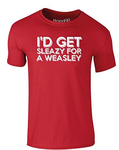 Brand88 - I'd Get Sleazy for a Weasley, Erwachsene Gedrucktes T-Shirt Rote/Weiß