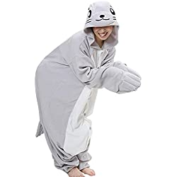 Pijama FashionFits, unisex para adultos, en forma de animal, cosplay Gris Seal without Shoes Medium