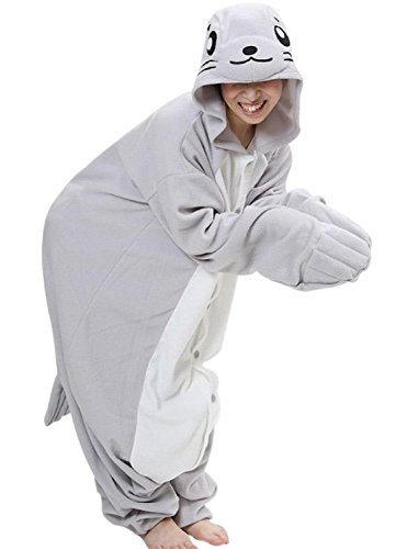 Unisexe de FashionFits Cartoon Anime Cosplay Adult joint dormant Wear Combinaison Pyjama Large gris - Seal without Shoes