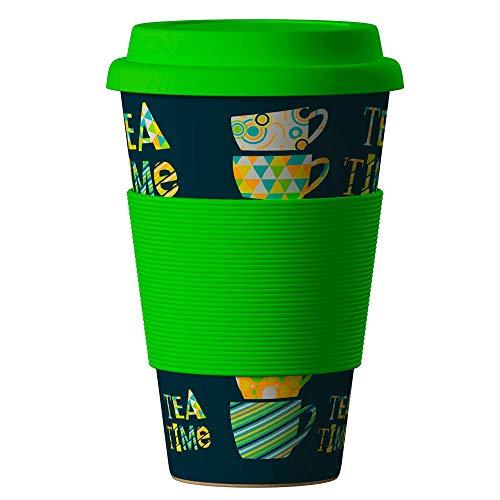 Bambus Becher wiederverwendbare Kaffeetasse mit dichtem Deckel, Trinkloch und Silikonhülle - Bamboo Eco ECoffee Cup - lebensmittelecht und spülmaschinenfest 400 ml teegrün