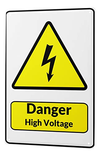 Blechschild Warnschild Danger High Voltage Blitz Symbol in schwarz gelben dreieck comic cartoons Satire 20x30 cm Metallschild Schild Wanddeko Deko Dekoration Retro Werbung