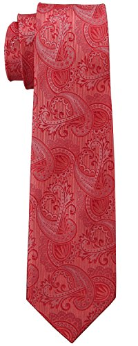 Hochzeitskollektion Korallen Rosa Krawatte 100% Seide, Paisley 7.6 cm + Geschenkbox (7 Falten Krawatte Seide)