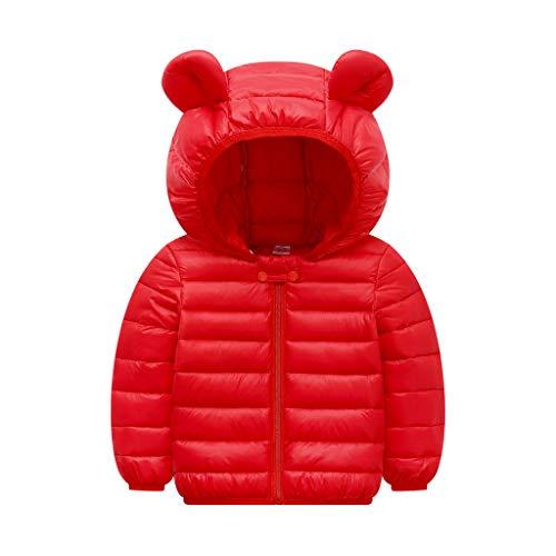 Winkey Kinderjacke, Kinder Langarm Cartoon Ohren Kapuzenstreifen Einfarbig Baumwolle Gepolsterte Warme Manteljacke -