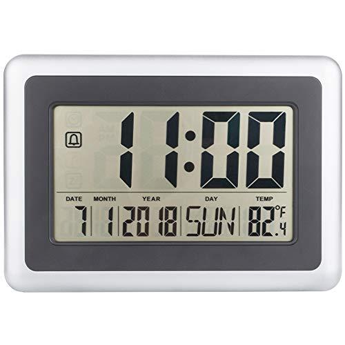 Alchgo Escritorio Eléctrico Pared Digital Gran Pantalla en Reloj Despertador con Calendario Temperatura...